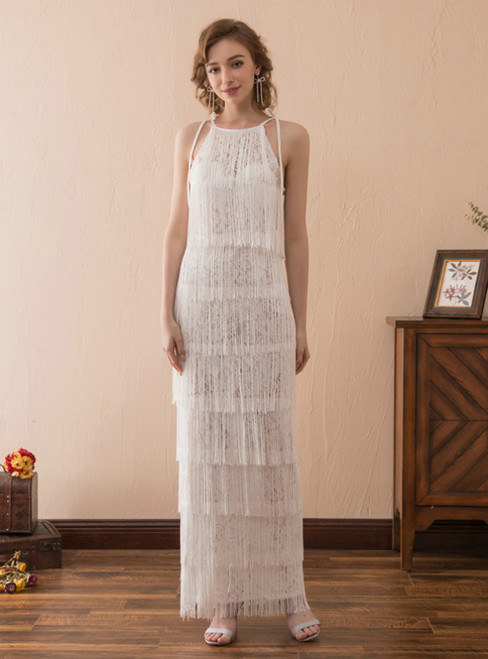 A-Line White Tassel Lace Halter Sleeveless Long Prom Dress
