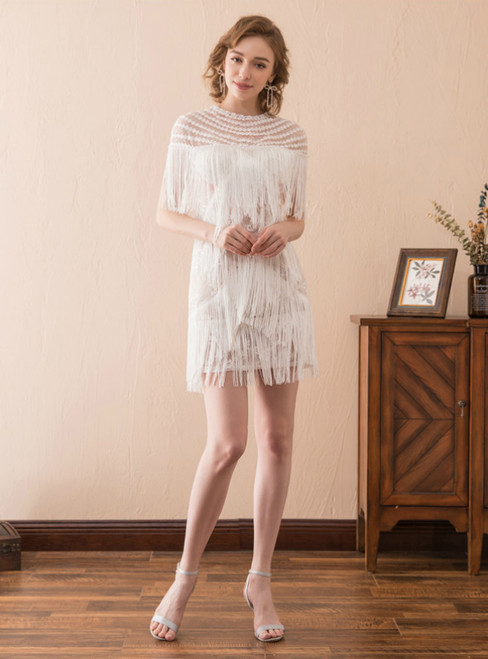 A-Line White Tassel Scoop Neck Short Sexy Prom Dress