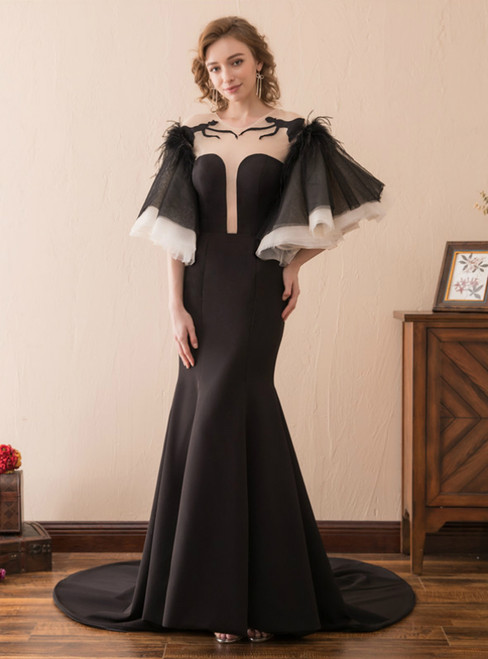 Black Satin Mermaid Backless Puff Sleeve Prom Dress With Feather