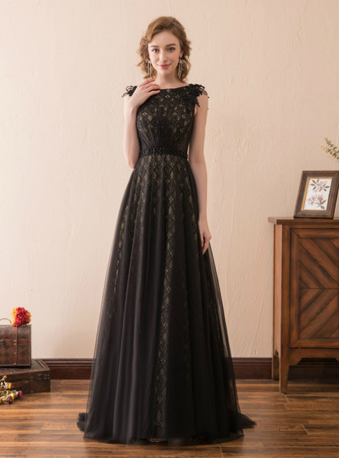 A-Line Black Lace Tulle Cap Sleeve Floor Length Prom Dress