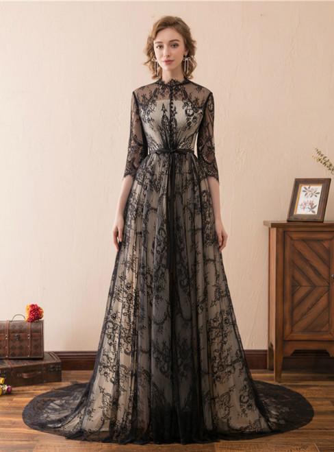 A-Line Black Lace 3/4 Sleeve High Neck Floor Length Prom Dress