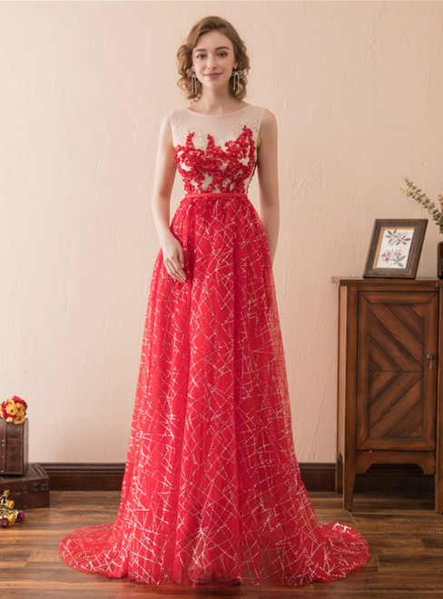 A-Line Red Tulle Sequins Appliques Floor Length Prom Dress