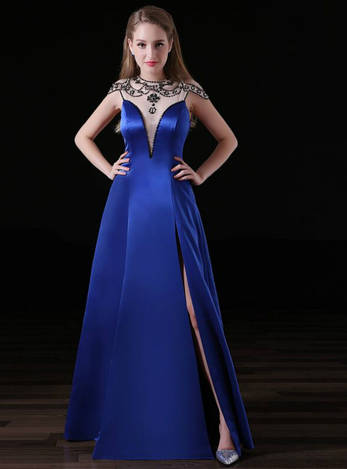 Blue Satin See Neck Cap Sleeve With Beading Prom Dress