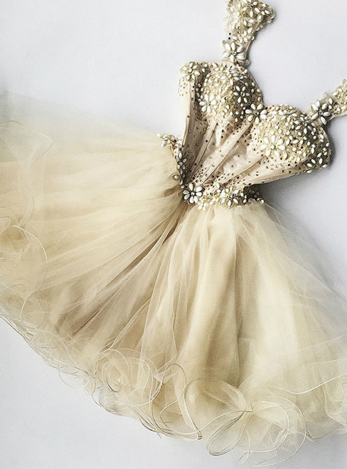 A-Line Champagne Tulle Straps Short Homecoming Dress