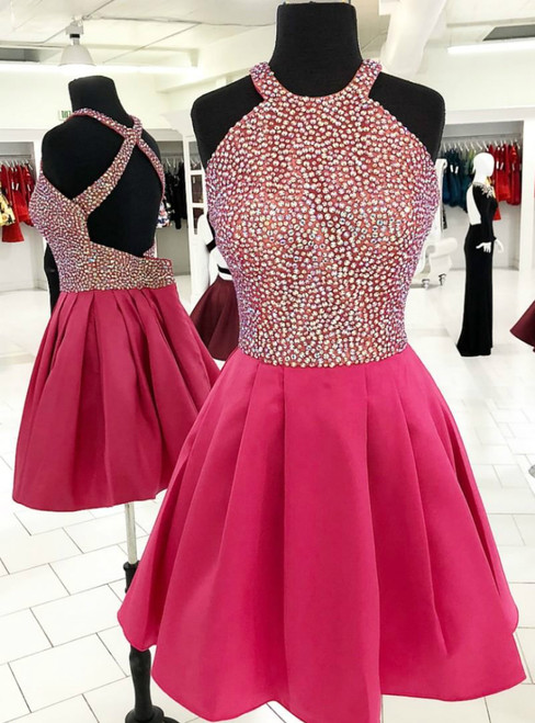Sparkle Short Pink Satin Halter Backless Homecoming Dress