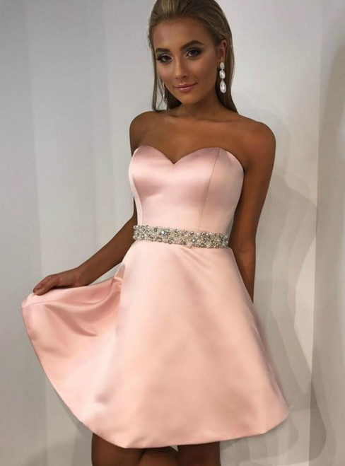 A-Line Sweetheart Pink Satin Homecoming Dress With Pearls