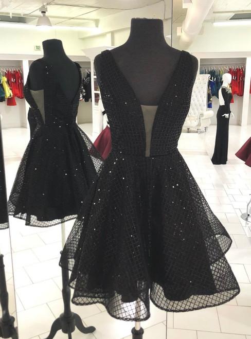 A-Line Sparkle Short Black V-neck Backless Party Dress