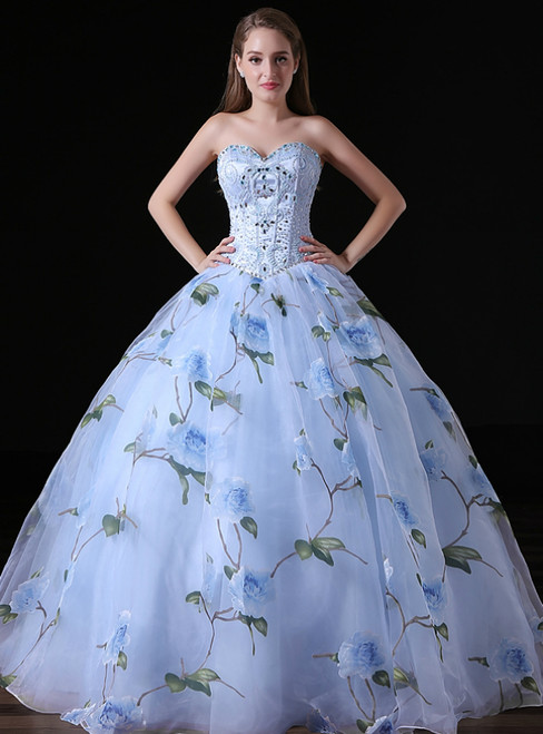 bc4032b72e9 Blue Ball Gown Tulle Sweetheart Print Quinceanera Dresses With Beading