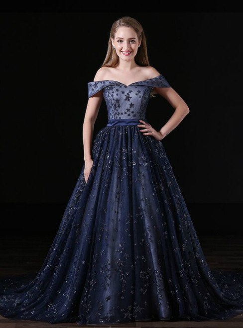 Sexy Navy Blue Tulle Sequins Off The Shoulder Prom Dress