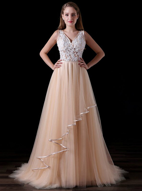 A-Line Champagne Tulle Appliques V-neck Backless Prom Dress