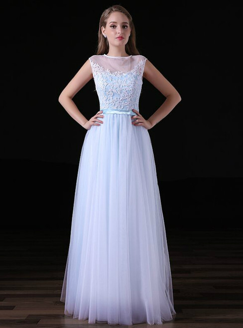 A-line Light Blue Tulle Lace Appliques Floor Length Prom Dress
