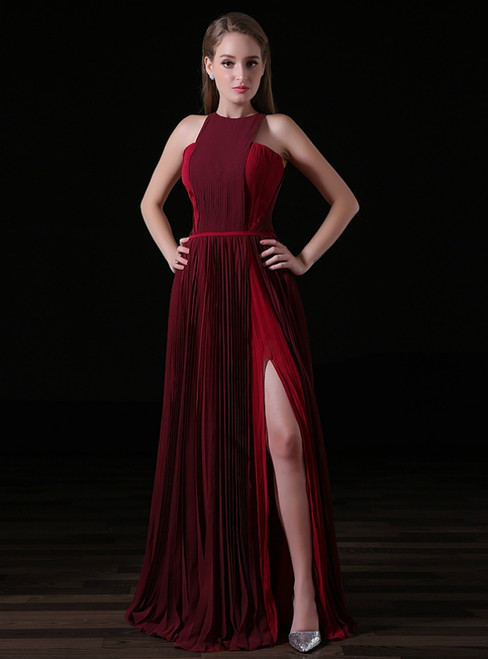 Red And Burgundy Chiffon Pleats Prom Dress With Side Split