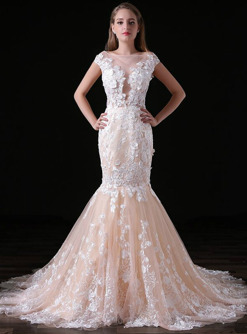 Champagne Tulle Lace Appliques Mermaid Cap Sleeve Backless Wedding Dress