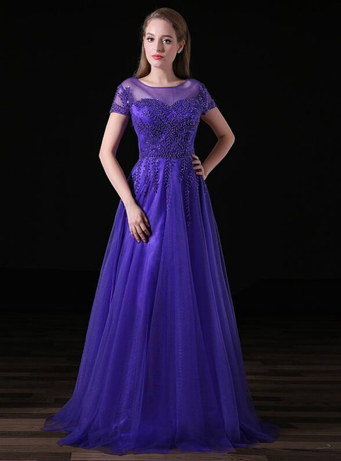 A-Line Purple Tulle Cap Sleeve Prom Dress With Beading