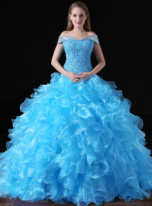 Blue Ball Gown Organza Lace Off The Shoulder Crystal Sweet 16 Dress