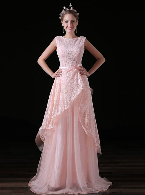 A-Line Pink Lace Tulle Backless Long Prom Dress With Bow