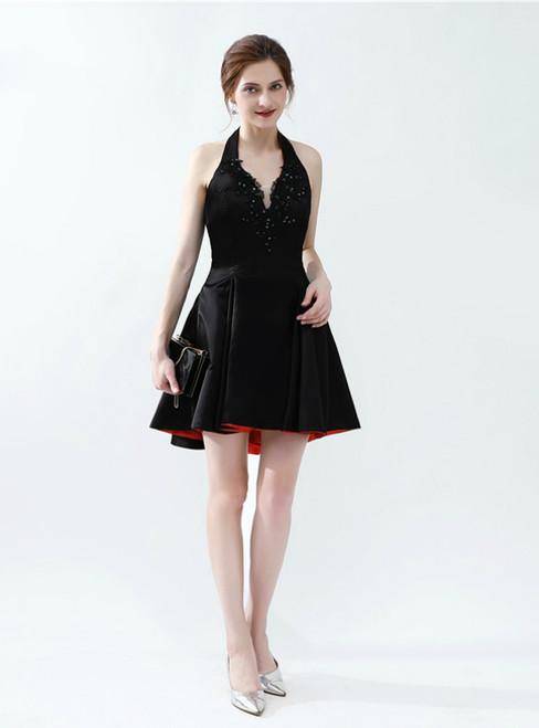 Black Satin Halter Backless Appliques Short Homecoming Dress