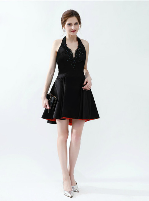 Black Satin Halter Backless Appliques Short Homecoming Dress