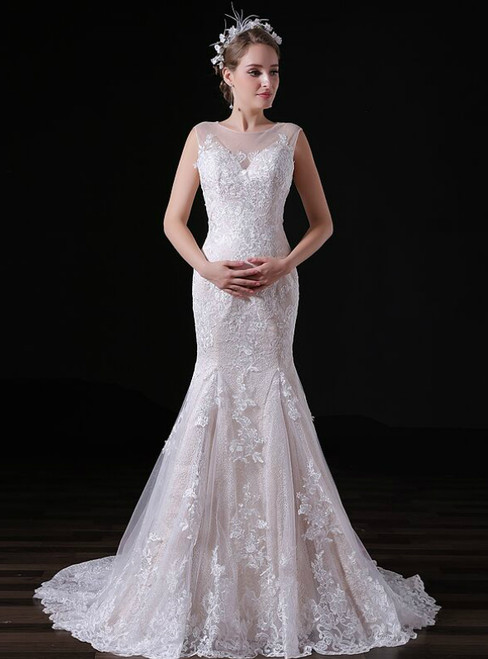 Sexy Champagne Lace Tulle Mermaid Long Wedding Dress