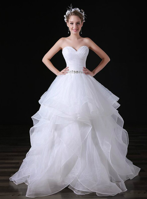 White Tulle Sweetheart Neck Tulle Weddign Dress With Crystal