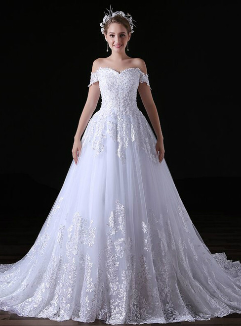 White Ball Gown Tulle Lace Appliques Off The Shoulder Wedding Dress