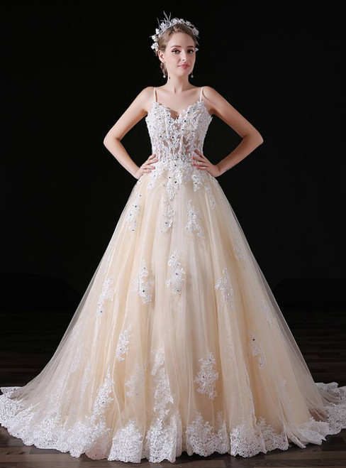 Champagne Tulle Appliques Spaghetti Straps Weddign Dress