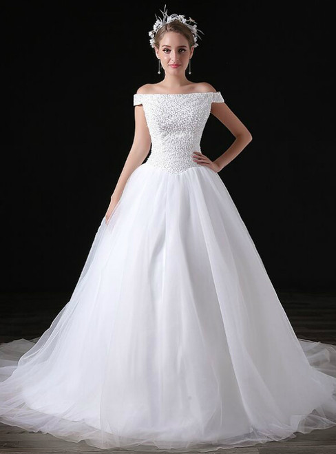 White Ball Gown Tulle Off The Shoulder Wedding Dress With Beading