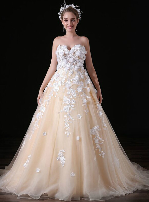 Champagne Tulle Sweetheart Neck Appliques Long Wedding Dress