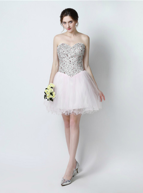 Light Pink Tulle Sweetheart Neck With Crystal Homecoming Dress