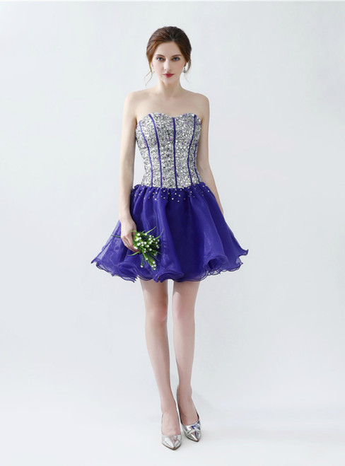 Purple Organza Sweetheart Short Homecoming Dress With Crystal
