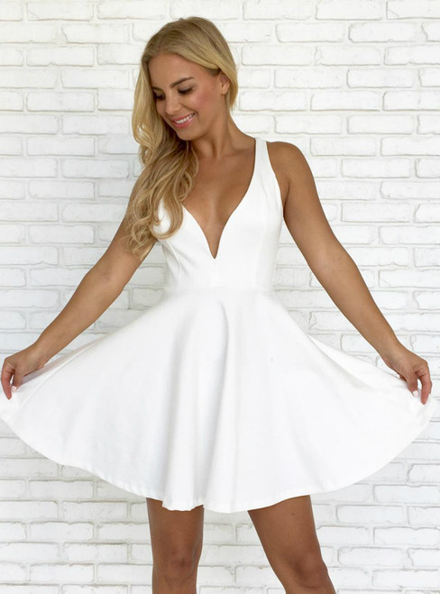 Short White Straps Satin Backless Short Homecoming Dress