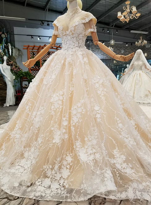 Luxury Champagne Ball Gown Appliques Backless With Sequins Wedding Dress