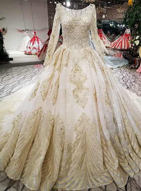 Champagne Ball Gown Long Sleeve Appliques Beading Wedding Dress