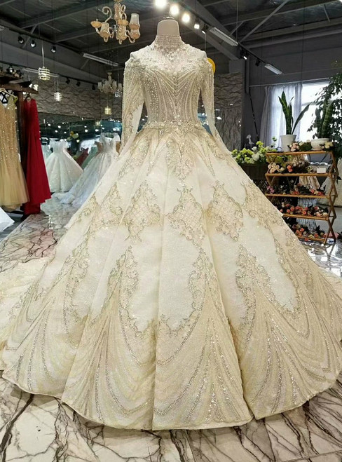 Champagne Ball Gown Off The Shoulder Long Sleeve Beading Appliques Weddign Dress