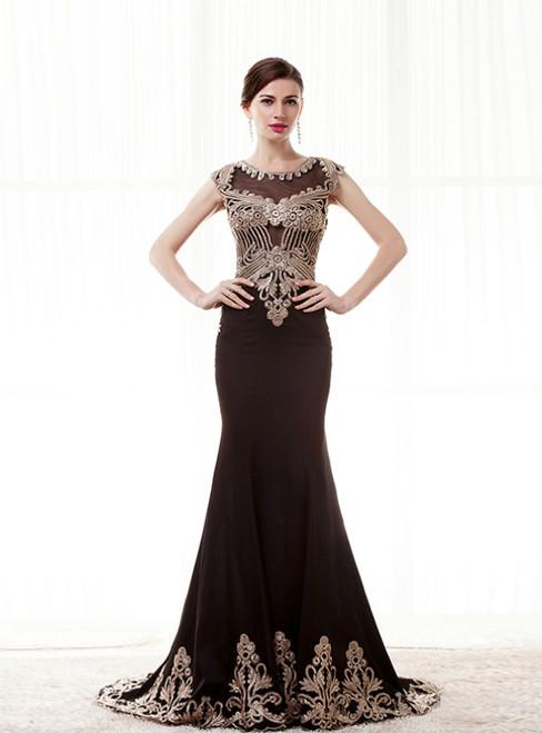 Sexy Black Mermaid Satin Embroidery Cap Sleeve Long Prom Dress