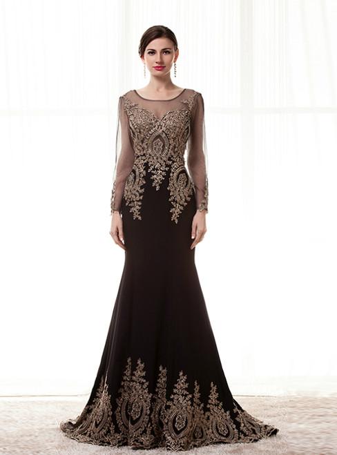 Black Mermaid Satin Appliques Long Sleeve Prom Dress