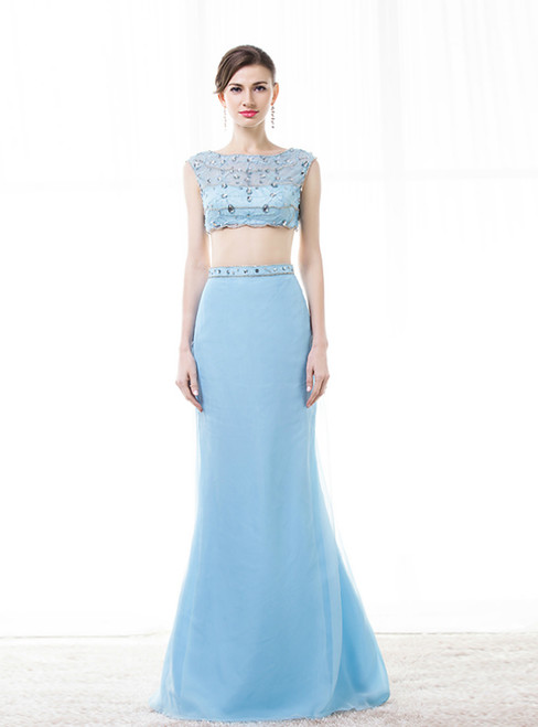 A-Line Blue Chiffon Two Piece Long Prom Dress With Beading