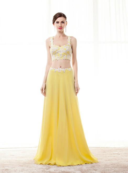 Yellow Straps Chiffon Two Piece Appliques Long Prom Dress
