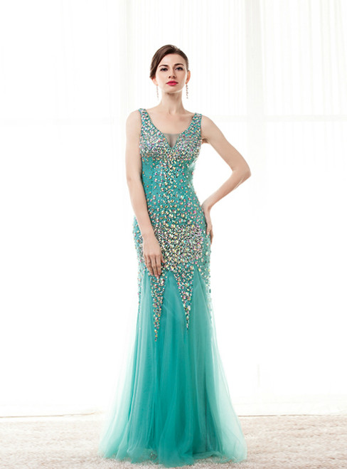 Sexy Green Mermaid Tulle Long Prom Dress With Crystal
