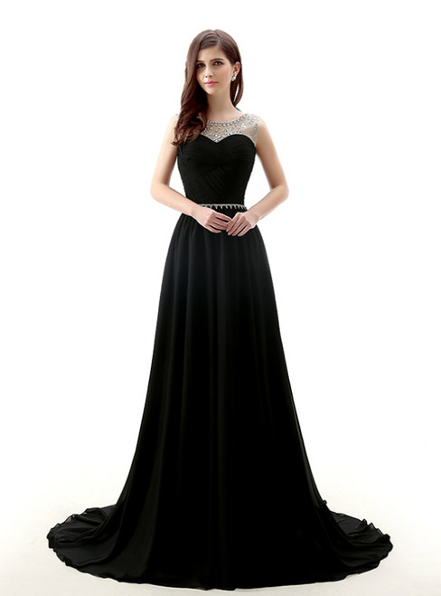 A-Line Black Chiffon Backless Long Prom Dress With Beading