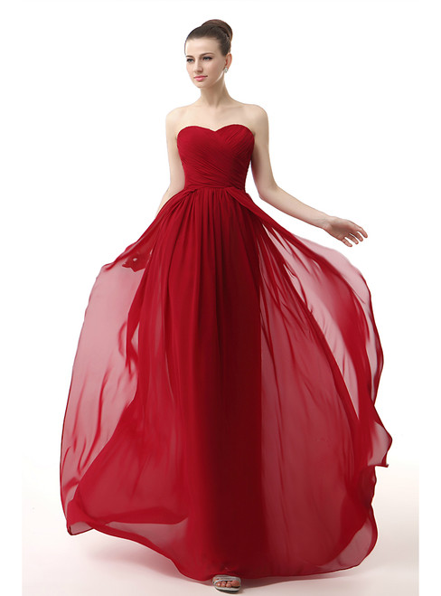 Red Chiffon Sweetheart Neck Long Bridesmaid Dress With Pleats