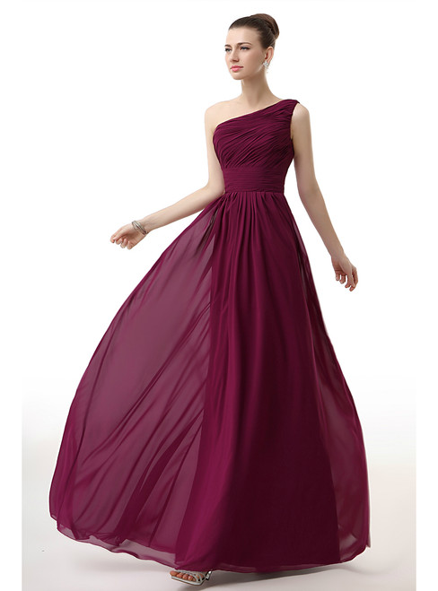 Simple One Shoulder Chiffon Pleats Long Bridesmiad Dress
