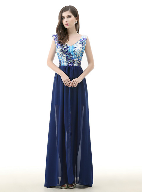 Blue Chiffon Print V-neck Appliques Sequins Prom Dress