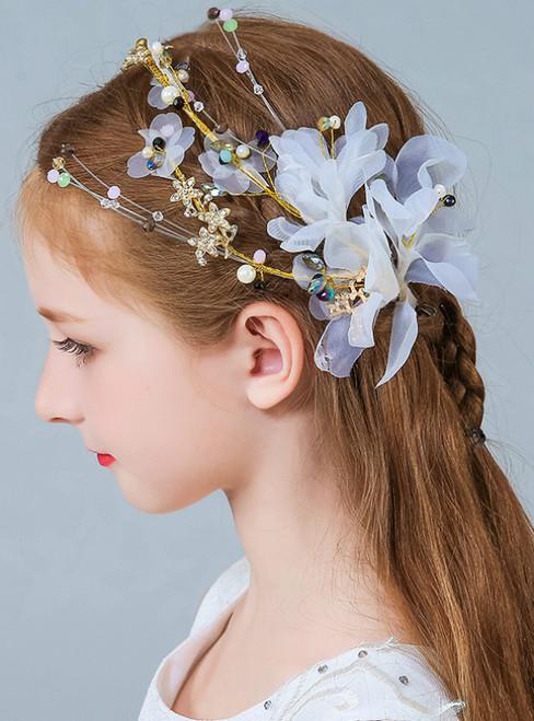Girl Flower White Princess Pearls Clip Side
