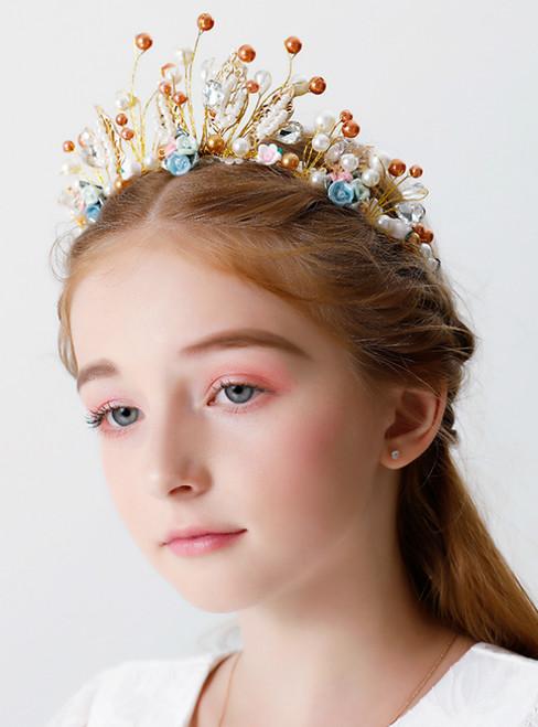 Color Crown Tiara Princess Crystal Beads Hair Accessories
