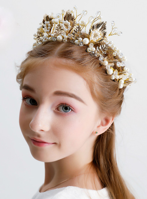 Gold Crown Princess Hairband Tiara Jewelry Beaded