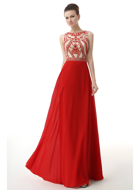 A-Line Red Chiffon Sleeveless Long Prom Dress With Crystal