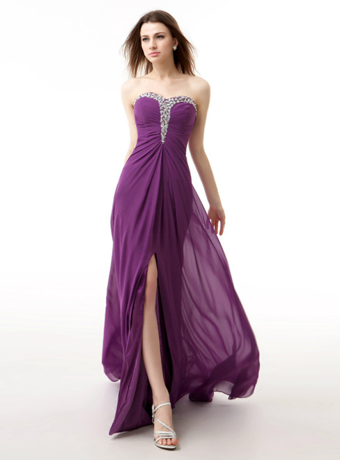 Purple Chiffon Sweetheart Neck Pleats Bridesmaid Dress With Crystal