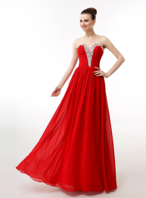 Red Chiffon Sweetheart Neck Pleats Bridesmaid Dress With Beading