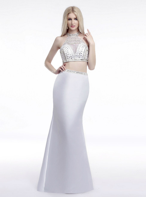 White Mermaid Two Piece Halter Satin Prom Dress With Crystal